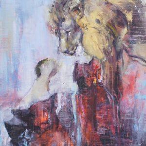 lejon abstrakt målning