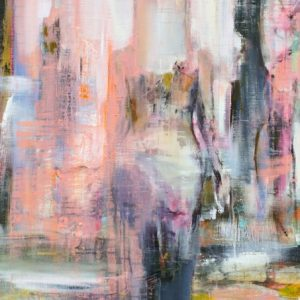 Kvinna akrylmålning rosa tavla