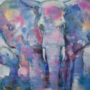 Målning av elefant tavla